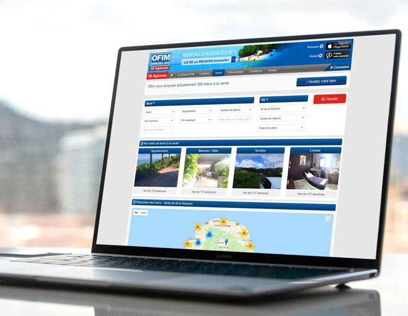 Création d'un site immobilier sur mesure, réseau de 26 agences immobilières, administration sur mesure, email alertes de masse.